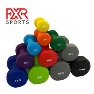 FXR SPORTS NEOPRENE DUMBBELLS AEROBIC FITNESS WEIGHT GYM TRAINING 0.5-10KG