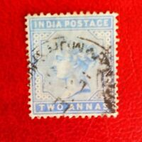 INDIA QUEEN VICTORIA POSTAGE STAMP TWO ANNAs USED