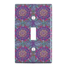 Purple Floral Mosaic Pattern Plastic Wall Decor Toggle Light Switch Plate Cover