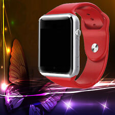 2018 Red Bluetooth Smart GSM SIM Card Watch Phone Mate Camera for Android IOS-US