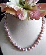 COLLAR Perlas Barroco Cultivada en el agua de dulce 9mm blanco-rosa - largo 45cm