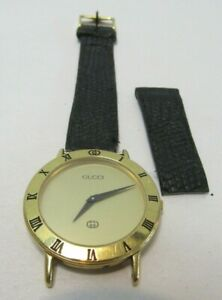 VINTAGE 1980'S GUCCI WATCH SWISS GUCCI 3000M GOLD TONE 100% AUTHENTIC WORKS GREA