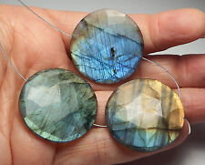 3 pcs LABRADORITE 30mm Faceted Coin Pendant Beads AAA NATURAL /C1