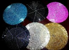 10cm Handmade Glass Beaded Coasters silver gold black teal pink blue Turquoise