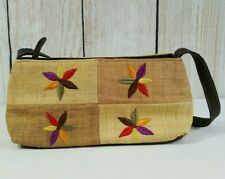 Liz Claiborne Purse Bag Clutch Orange Embroidered Flowers Raffia Canvas Zipper
