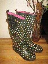 Capelli® Rain Snow Wellie Boots Blk Rainbow Polka Dot W/Calf Extender Women's 6
