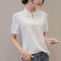 Short Sleeve Women Blouse Top Loose Summer Fashion Ladies Shirt T-Shirt Chiffon