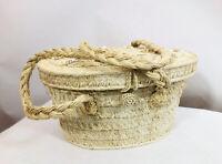Vintage Wicker Straw Rattan Woven Basket Purse Made In Japan Beads Tassel