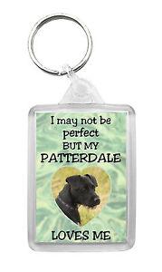 Patterdale Terrier Dog Keyring Keyfob 'I May Not Be Perfect But...' Design No1