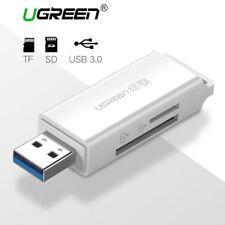 Ugreen Lector de Tarjetas SD USB 3.0 Adaptador de tarjeta de memoria SD TF Con Llavero-Blanco