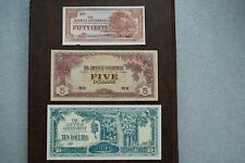 Japanese Invasion Money -$10 / $5 Dollar / 50 cent Notes - WWII - Lot of 3