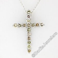 New 14K White Gold 1.52ctw Round Light Champagne Diamond Cross Pendant & Chain