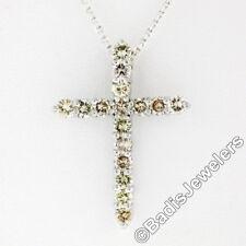 NUEVO 14k ORO BLANCO 1.52ctw Luz Redonda champán Cruz Diamante Colgante + cadena