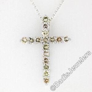 New 14K White Gold 1.52ctw Round Light Champagne Diamond Cross Pendant & Chain