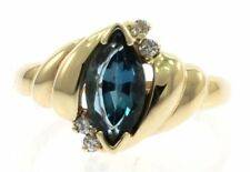 Genuine London Blue Topaz and Diamond Ladies Ring in 14kt Yellow Gold