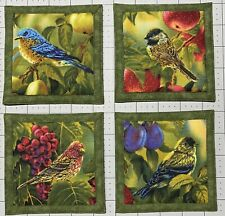 Mug Rug Coasters Song Birds 4.5� By 4.5� Handmade Quilted Set Of 4 100% Cotton.