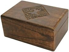 Wooden Jewelry Trinket Box Organizer with Hand Carved Celtic Design 8x5