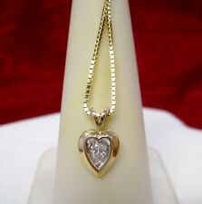 14K YELLOW GOLD HEART SHAPE .15CTW DIAMOND PENDANT NECKLACE