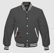 New listing Letterman Varsity School College Bomber Baseball Sport All Wool Jacket Dark Gray