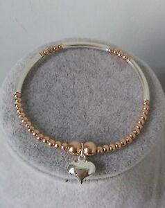 Handgefertigter Rose Gold & Sterling Silber Noodle Perlen Stretch Armband