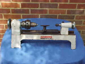 VINTAGE AXMINSTER CAST IRON WOOD CRAFT BENCH TOP LATHE