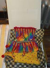 2 Mackenzie Childs Silk Christmas Stocking Plaid & Stripes & Dots Bells Tassels