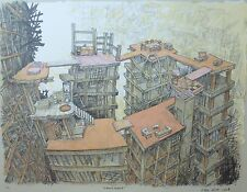 """Oscar Oiwa """"Apartment"""" 2008 Hand signed + numbered Lithograph Brazilian/Japanese"""