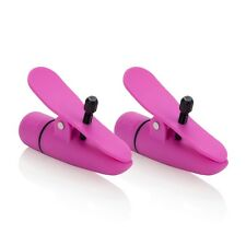 NIPPLETTES VIBRATING WATERPROOF ADJUSTABLE VIBRATING NIPPLE CLAMPS TOY PINK