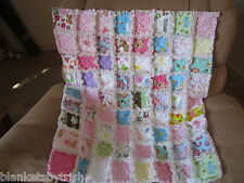 BABY GIRL RAG QUILT DOTS HANDS DOGS FLANNEL PINKS FLOWERS LADY BUGS