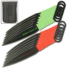 Deadly Dozen Zombie Slayer Throwing Knives Knife Set Blade Paracord Double Sided