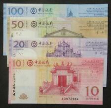 Un Lote De 4 Piezas Macao Macao 10 20 50 100 Patacas Billetes 2008-8-8 Unc