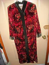 VELVET Roses RAZA NEW YORK Maxi DRESS size M made in USA loungewear ROBE