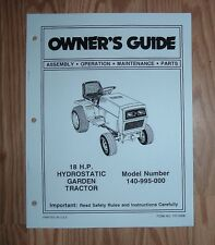 MTD 140-995-000 18 HP HYDROSTATIC GARDEN TRACTOR OWNER OPERATOR MANUAL