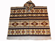 Native American Indian style large hand made poncho with Hood Beige