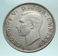 1946 United Kingdom UK Great Britain GEORGE VI w Crown Silver Florin Coin i82531