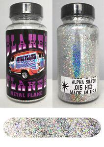 Blakes Metal Flake .015 Silver Alpha Holograph Prismatic Hot Rod custom 2oz jar