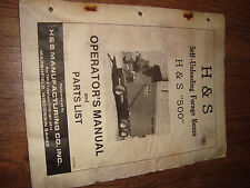 H&S Self Unloading Forage Boxes 500 1980 Operators Manual And Parts List