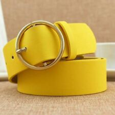 "41"" Women Simple PU Leather Round Belt Pin Buckle Wide Belt Clothes Wear Casual"