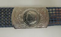 Vintage Scaled Stretch Belt with Replica 1884 US Silver Morgan Dollar Buckle