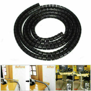2M 5M Cable Tidy Wire Kit PC TV Organising Wrap Cover Spiral Tube Office Home UK