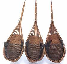 3x Thai Hanging Pot Outdoor Balcony Decor Woven Handmade Bamboo Baskets