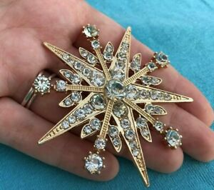 Art Deco Style Large CRYSTAL GOLD STAR BROOCH Shawl Pin Jewellery