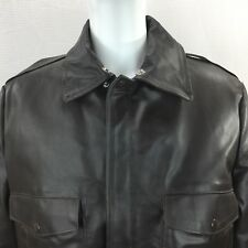 Bomber Style Leather Jacket 44 R Vintage Sears Brown Flight Coat Quilted Lining