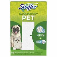 Swiffer Sweeper Dry Mop Pet Refills for Floor Cleaning, with Febreze, 52 Count