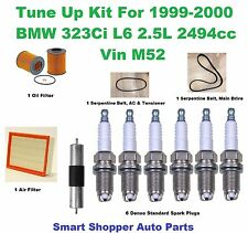 Tune Up Kit for 1999-2000 BMW 323Ci Denso Spark Plug, Air Oil Filter, Serpe Belt
