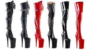 Pleaser BEYOND-3028 3050 4000 Platform Stretch & Zip Closure Thigh High Boots