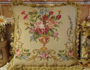 """Throw Pillow 20"""" PETIT POINT Rose In Urn Hand Crafted ANTIQUE Design"""