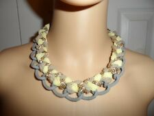 Cool ViVi Cookie Lee blue yellow gold braided chain necklace NWOT ladies women