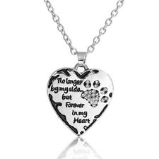 Pet Memorial Necklace Antique Silver Black Dog's Paw Heart Clear Rhinestones