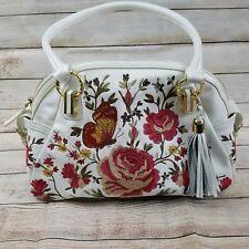 SHARIF DESIGNS Handbag | Floral Embroidery White Leather Shoulder Tote Bag |Mint